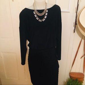 Adrianna Papell LBD Dress -4 Black blouson top